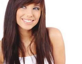 Косая челка на длинные волосы фото