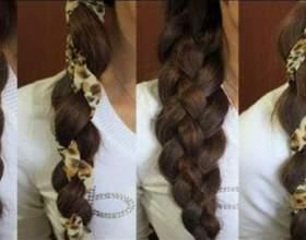 Стильная коса из четырех прядей фото